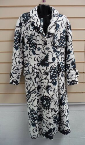 White 8 Print 10 Bnwt Closet a001 Coat Detail Black Størrelse And Teal HfwOZ