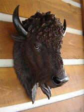 LARGE BUFFALO HEAD SCULPTURE ART STATUE LOG CABIN LODGE HOME
