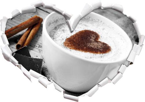 3D-Look Herz Wandtattoo Aufkleber-Sticker schönes Kaffeesahneherz