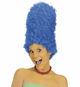 Image Is Loading Las Marge Simpson Blue Wig Cartoon Tall Beehive
