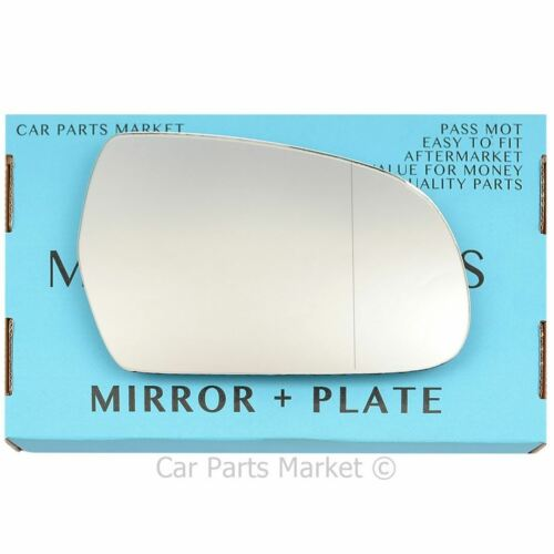 For Audi A4 2010-2015 Right Driver side Aspheric wing mirror glass with plate