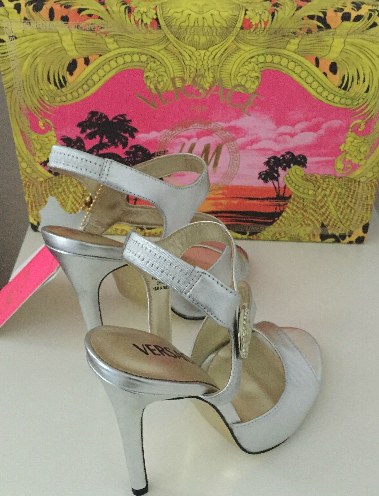 Versace Stilettos High Heels Schuhe Silver EUR 37 38 39 40 US 6 7 8 9 UK 4 5 6 7