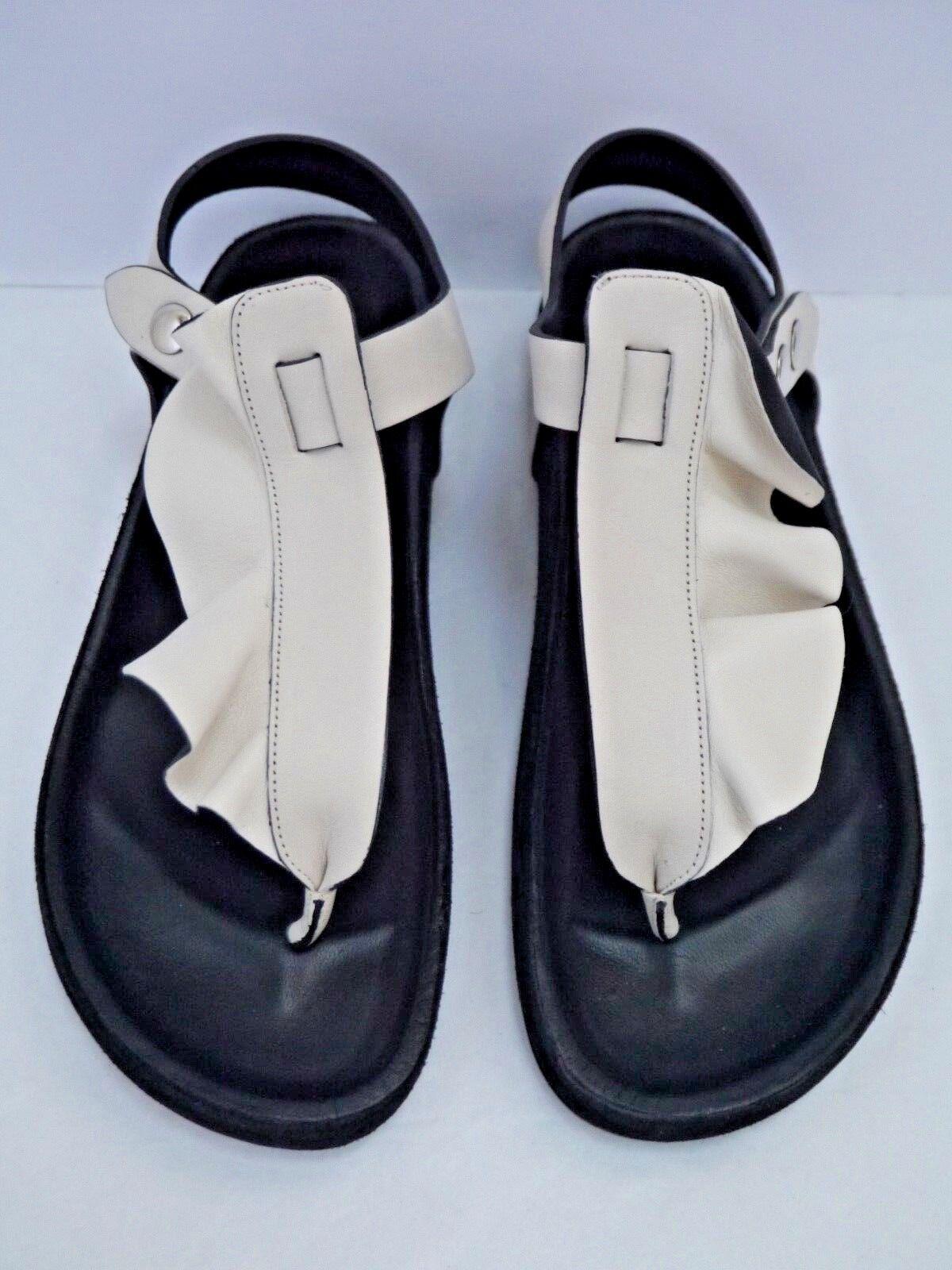 NEW ISABEL MARANT sandals ivory schwarz leather ruffle thong flat sandals MARANT size 39 ad2774