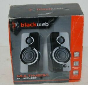 Details about BlackWeb Multi-Media PC Speakers MP3 Input 3 5mm Aux Input  PLAY MUSIC FROM CELL