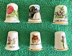 Set-Of-6-Scottish-Towns-Bone-China-Thimbles-Collectable-Scotland-Places-S1