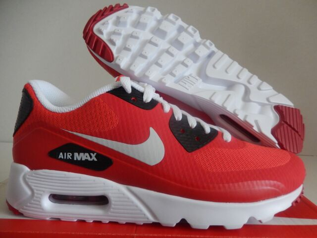 NIKE AIR MAX 90 ULTRA ESSENTIAL ACTION RED PURE PLATINUM RED SZ 7 [819474 600]