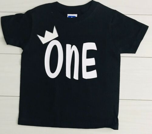 Boys 1st First Birthday T-Shirt Top Outfit Cake Smash Set Black White Party