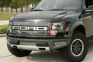 2010-2014-Ford-F-150-Raptor-Polished-Stainless-Upper-Grille-amp-FORD-Letters