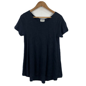 Seed-Heritage-Womens-Top-Size-XS-Blue-Short-Sleeve-100-Linen-Boho