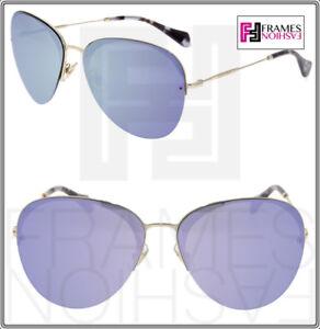 4cc7af1c8 MIU MIU 53P Aviator Sunglasses SO FRAME Pale Gold Lilac Green ...