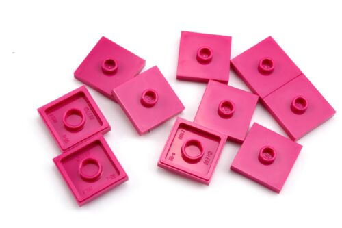 Lego 2x2 Plate with Single Stud Magenta Lot of 10