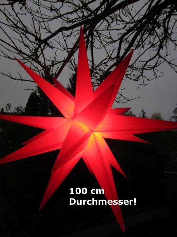 3D Leuchtstern XXL Jumbo rot Ø100 cm Weihnachtsstern 18-Zacker outdoor für LED