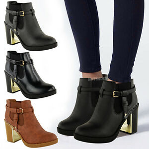 NEW-LADIES-WOMENS-GOLD-MID-HIGH-HEEL-CHELSEA-ANKLE-BOOTS-CHUNKY-BLOCK-SHOES-SIZE