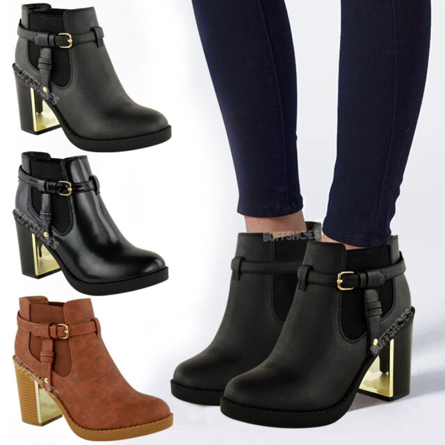 NEW LADIES WOMENS GOLD MID HIGH HEEL CHELSEA ANKLE BOOTS CHUNKY BLOCK SHOES SIZE