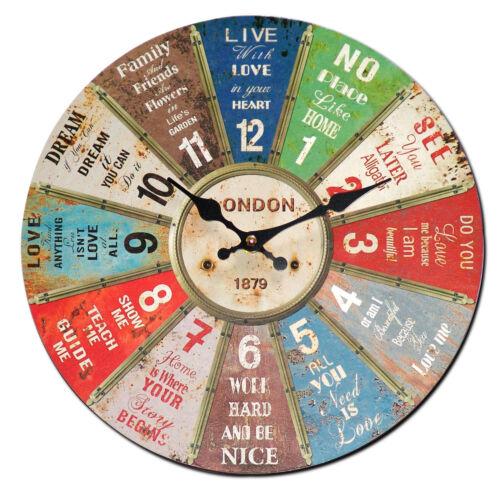 Wanduhr Vintage Glücksrad London 1879 Wand Uhren Deko Uhr Analog Glücks Rad