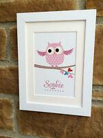 Children's Christmas gift-  Name Owl Personalised print/ framed print