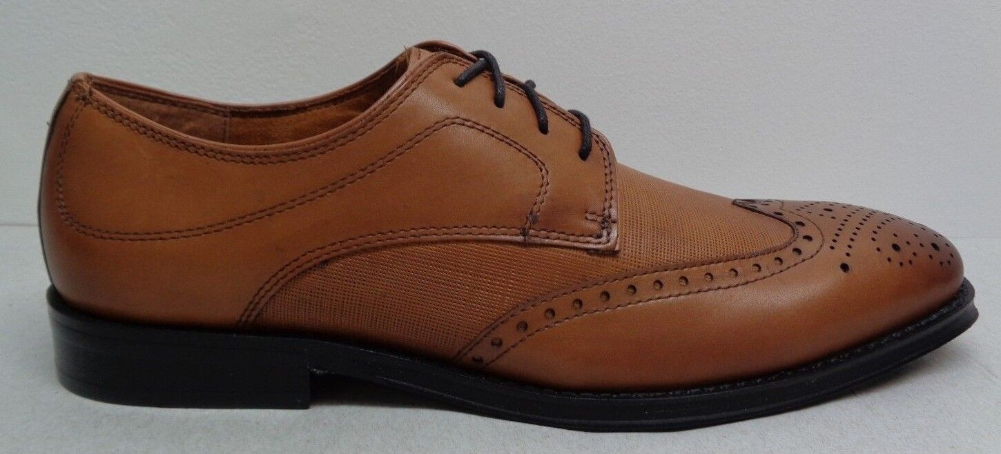 Steve Madden Size 12 M WINNOW Tan Brown Leather Wingtip Oxfords New Mens shoes