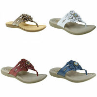 Earth Spirit Savannah Ladies Toe Post Sandals in Red Blue White Platinum Leather
