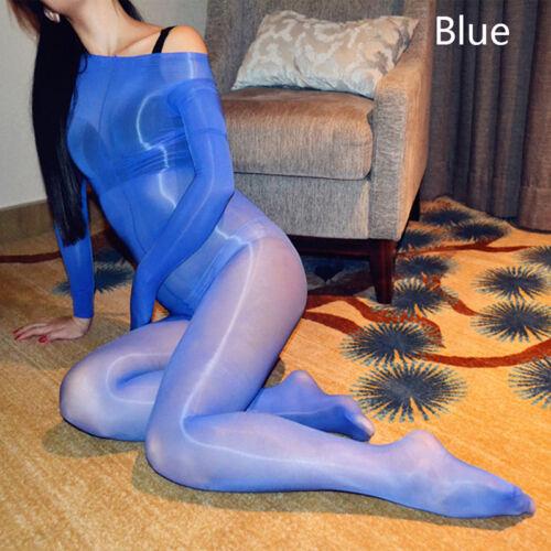 Plus Size Full Body stocking High Glossy Oil Shiny Nylon Bodysuit Ti✔UK