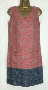 Next-Pink-Floral-Linen-Blend-Pocket-Tunic-Shift-Dress-Size-12-n-51h