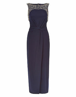 Monsoon Navy Moriarty Embellished Sleeveless Maxi Dress Orig Price £99