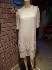 Women's Vintage Brilliante By JA Ivory Silk Tiers Beads Sequins Pearls Dress L