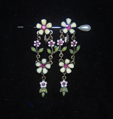 "VINTAGE SIGNED AVON "" Victorian Style ""Enamel Rhinestone Earrings Rare"