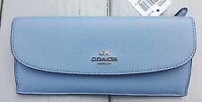 NWT COACH Leather City Wallet CROSSGRAIN Leather Cornflower Blue 54008
