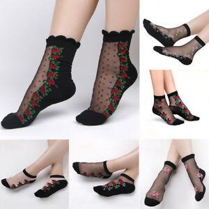 Fashion Women/'s Lace Socks Crystal Silk Short Thin Flower Rose Socks I6E1