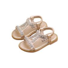 d34503511 Girls Kids Summer Crystal Gladiator Sandals Children Slip On Flats Shoes  Size UK