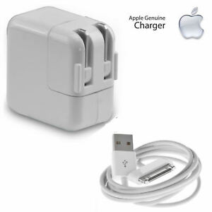 Details about Genuine OEM 12w Apple i Pad GEN 123 Wall Charger W30Pin Usb Cable iPhone 4,3G