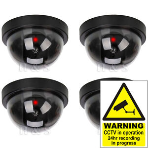 4x-Fake-Dummy-CCTV-Dome-Security-Camera-Flashing-LED-Indoor-Outdoor-Warning-Sign