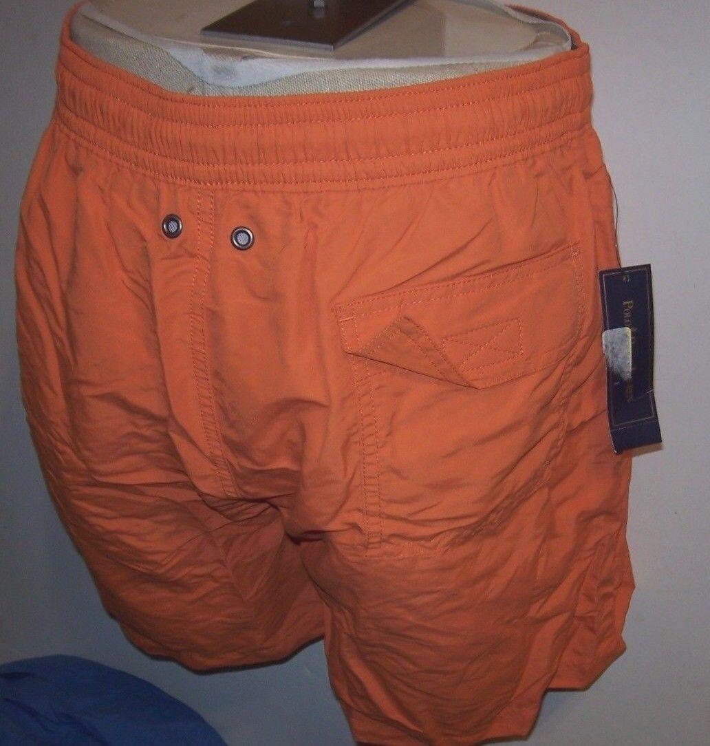 New Polo Ralph Lauren orange olive green logo swim shorts swimsuit trunks XL