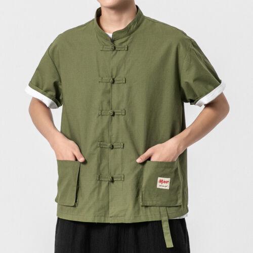 Men Chinese Cotton Linen T Shirt Top Short Sleeve Blouse Pocket Frog Button