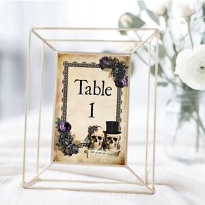 Details About Skull Table Numbers Gothic Wedding Table Signs Seat Cards Skull Bride