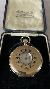 Antique-Solid-9ct-Gold-Hallmarked-Benson-Half-Hunter-Pocket-Watch-Original-Box