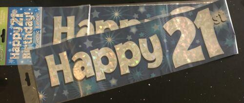 Blue Foil 21st Birthday Banner 2.7m will split into 3*  21st Birthday Party