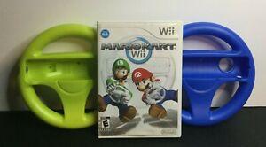 Nintendo Mario Kart Wii With 2 Mario Kart Wheels Tested No Manual