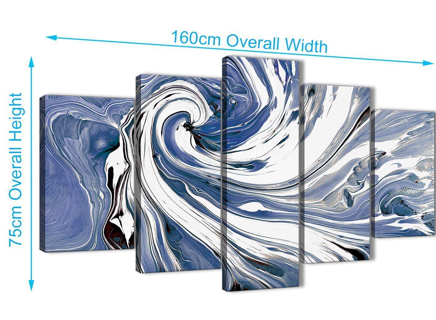 XL Indigo Blau Weiß Swirls Abstract Canvas Wall Art Art Art - 5 Set - 160cm Wide - 5352 e46d17