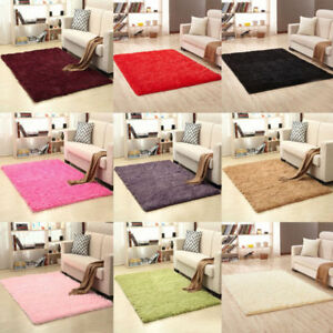 Details About Fluffy Rugs Anti Skid Shaggy Area Rug Dining Room Home  Bedroom Carpet Floor Mat