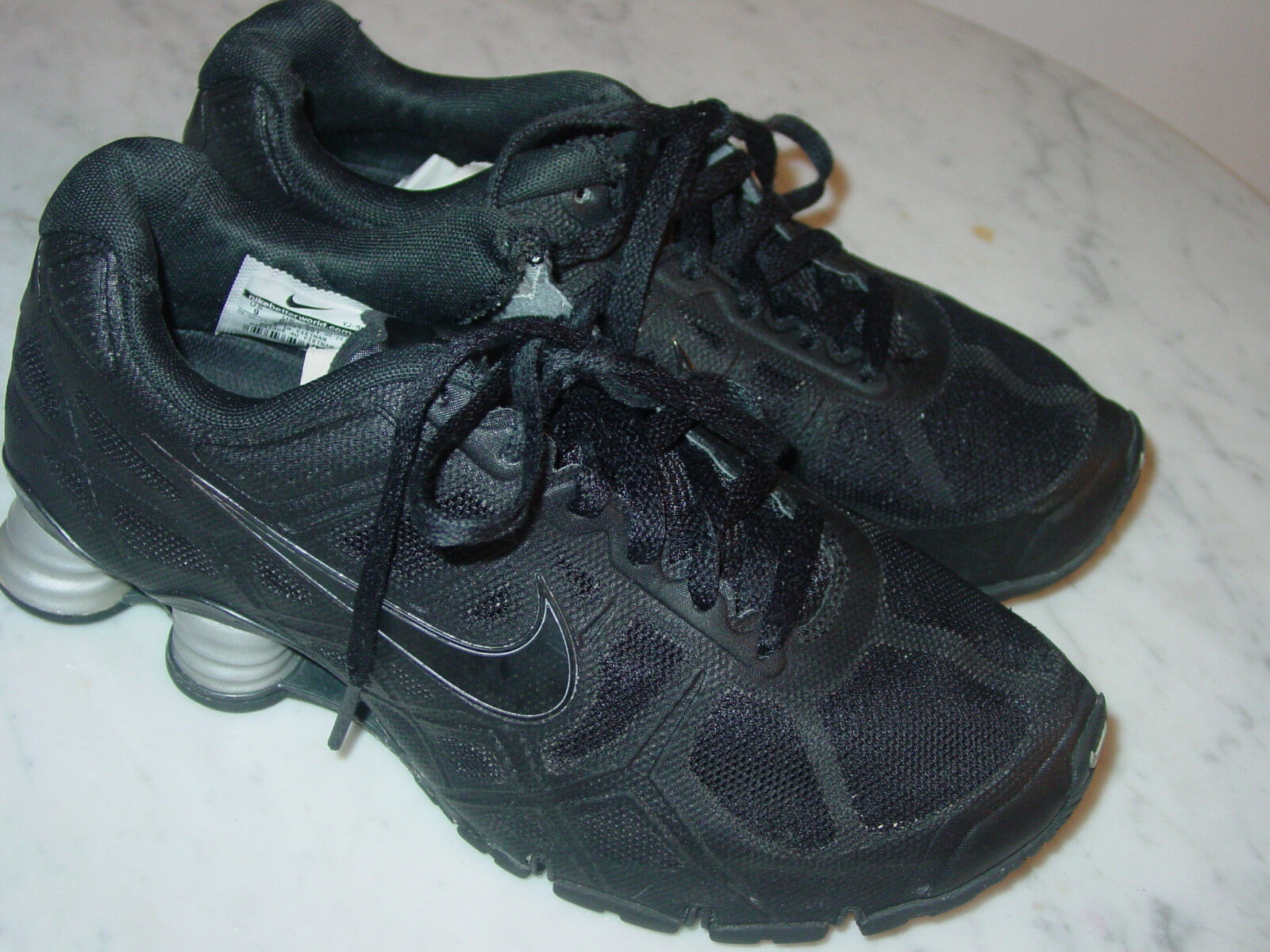 2011 Womens Nike Shox Turbo+ 12 Black Metallic Silver Running shoes  Size 9