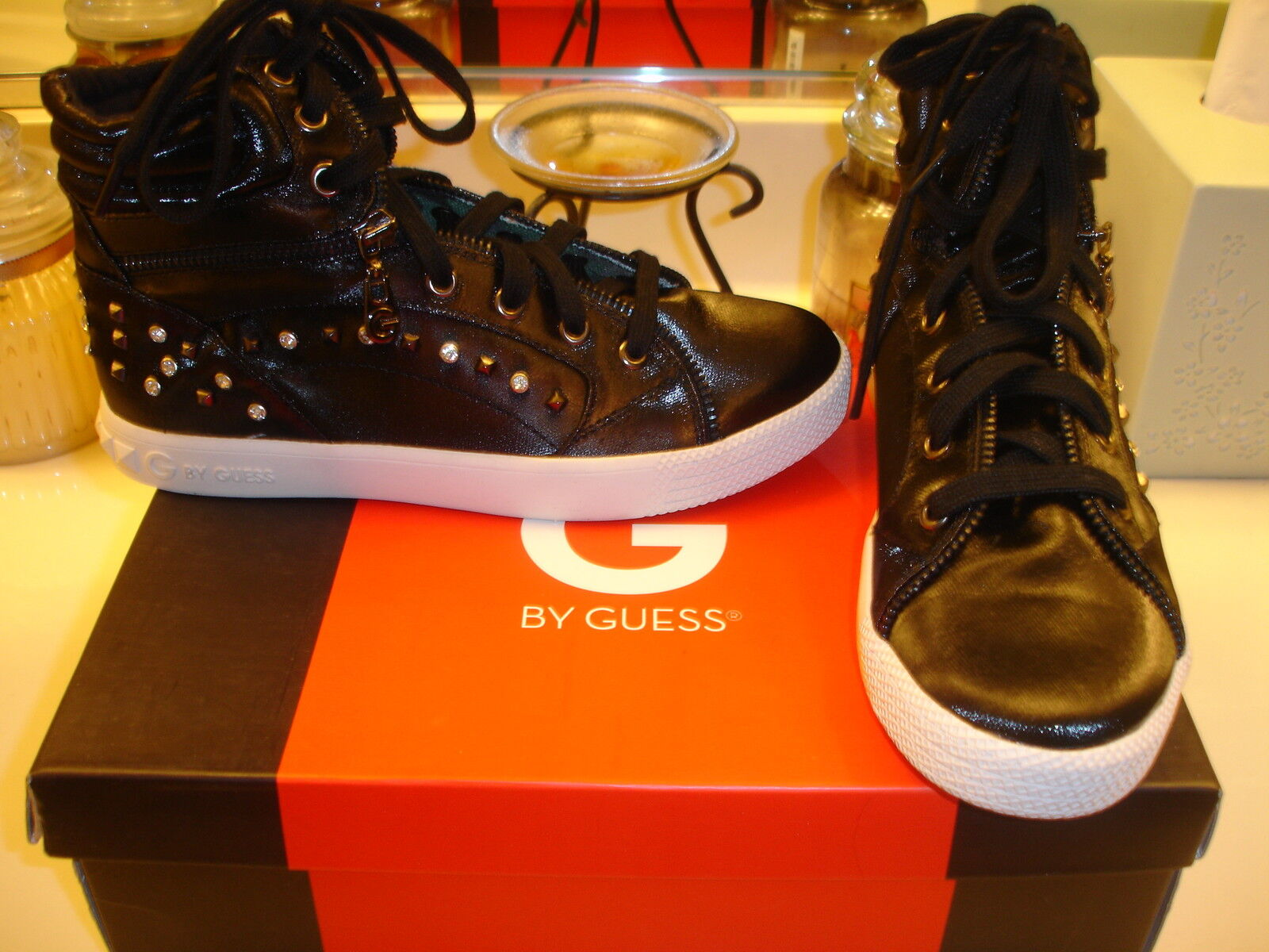 G By Guess Noir Fabric Monty2 Studded Chaussures 6 6.5 Comfortable styllish  90