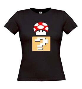 Mushroom-Question-Girlie-Shirt-Gamer-Mario-Retro-Super-Nintendo-Kult