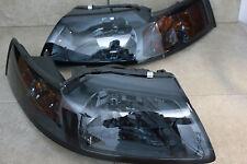 99-04 Ford Mustang Smoke Housing Headlights w/Amber Reflector GT Cobra SVT 4.6L