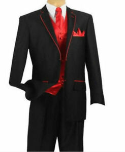 Men S Black Suit Tuxedo With Red Edge And Red Vest Custom Made Wedding Suit Ebay