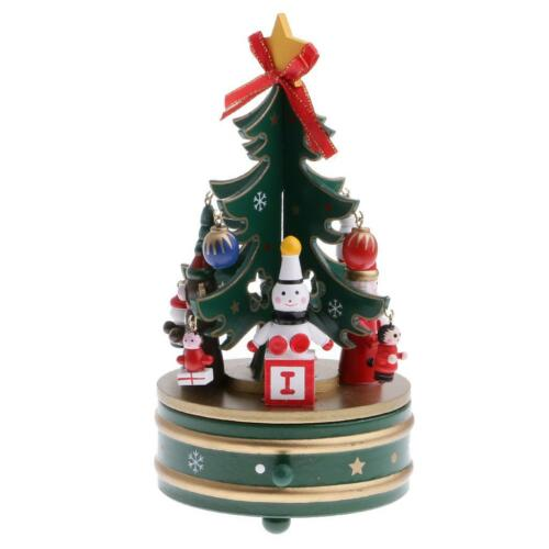 Christmas Decoration Music Box Xmas Santa Claus Tree Wind Up Toy Table Ornament