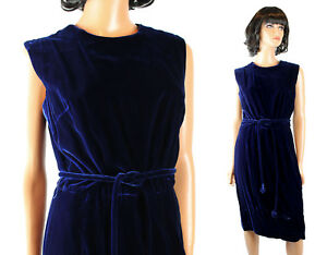 f53670b233b96d 60s Cocktail Dress Sz M Vintage Dark Cobalt Blue Velvet Sleeveless ...