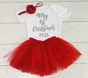 f5f6ab0a957 Luxury Girls My First 1st Christmas Red Tutu Skirt Outfit Vest Photo ...