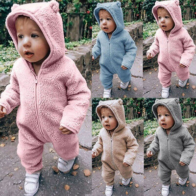 UK Newborn Baby Girls Boys Hooded Romper Bodysuit Jumpsuit Warm Clothes Outfits