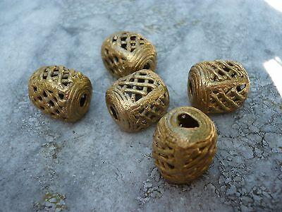 3 Perlen Messing 18 mm Röhren Ghana Ashanti Wachsausschmelzverfahren